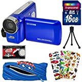 Bell & Howell DV200HD HD Video Camera Camcorder with Built-in Video Light (Blue) with 16GB Card + Monstar Pouch Case + Stickers + Tripod Kit