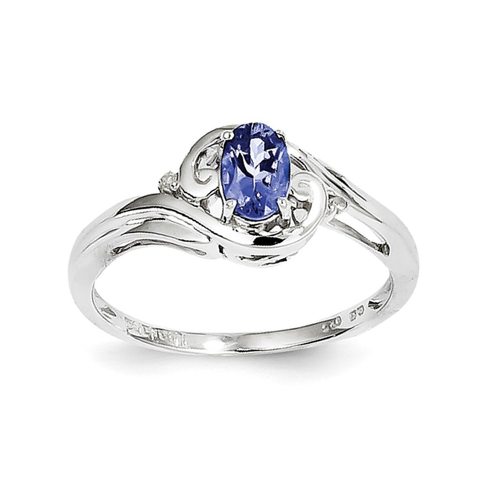 14K White Gold Over Diamond And Tanzanite promise Solitaire Engagement Ring Size 7 For Women (0.42ct)