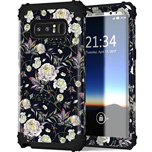 Galaxy Note 8 Case, Lontect Floral Design Pattern Hybrid Heavy Duty Shockproof Case Dual Layer [Hard PC+ Soft Silicone] Impact Protection for Samsung Galaxy Note 8, Flower/Black
