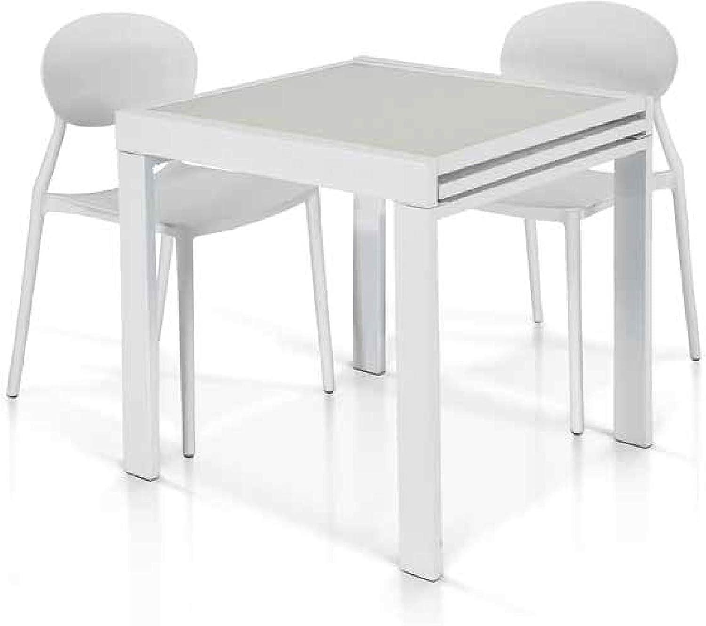Lo Scrigno Arredamenti - Mesa de Cristal Blanco - 70 x 70 cm ...