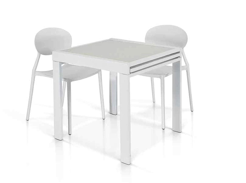 Lo Scrigno Arredamenti Tavolo Vetro Bianco 70x70 allungabile