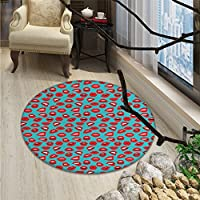 Kiss Round Rugs for Bedroom Retro Woman Mouth Red Lipstick Girl Expressing Different Emotions Female VintageOriental Floor and Carpets Teal Red White