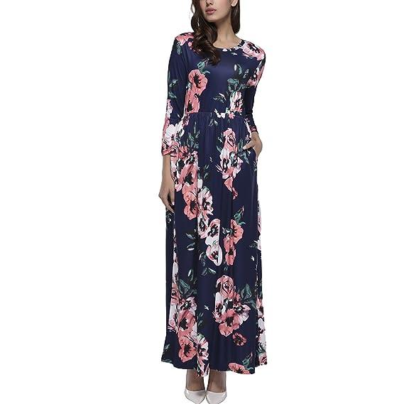 96aeb9bf6604 KUREAS Women Fashion Printed Long Dress Retro Vintage Flower Casual Floor  Length Maxi Dress