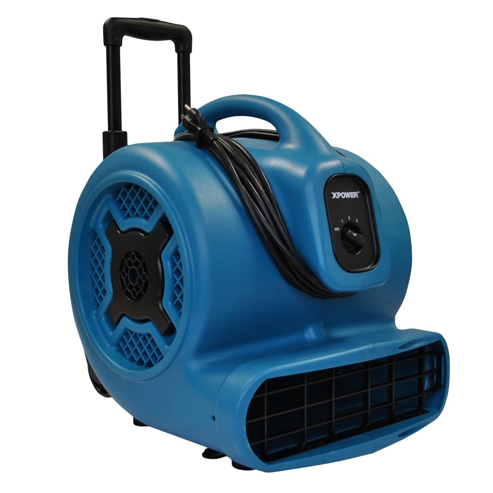 XPOWER X-830H 1 HP 3600 CFM 3 Speed Professional Air Mover with Telescopic Handle and Wheels, 8.5-Amp