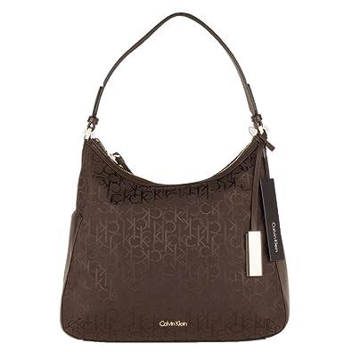 CALVIN KLEIN Damen handtasche nina logo hobo braun: Amazon