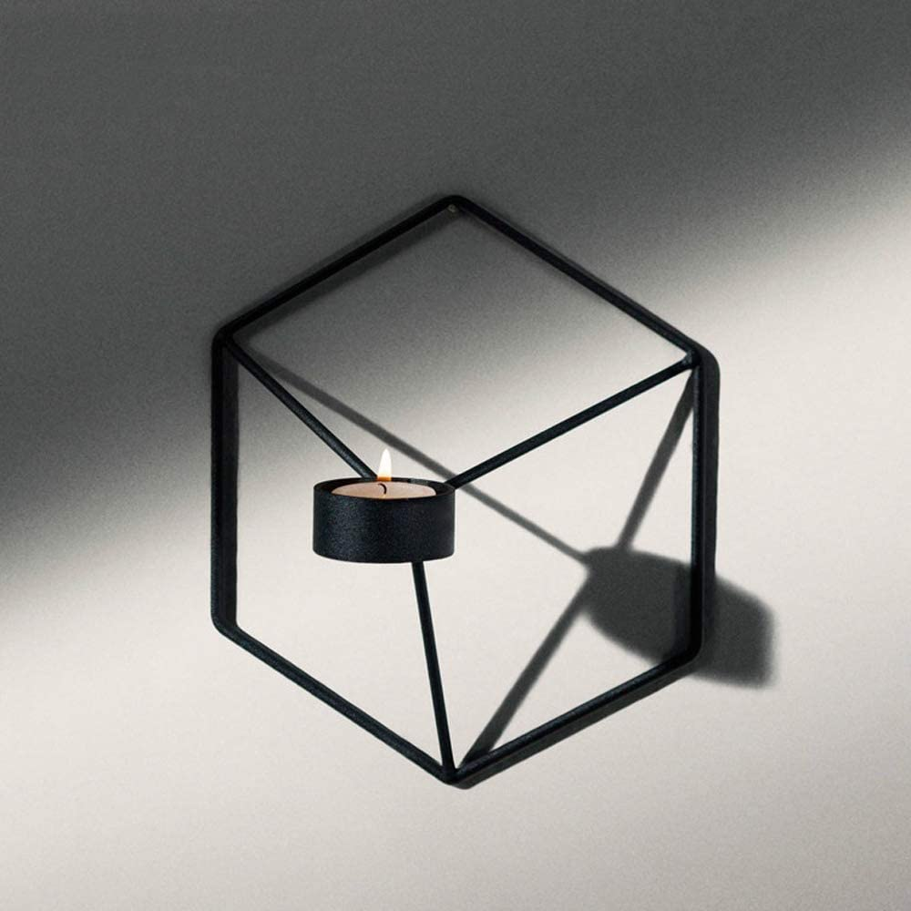 Black Pcs of 3 Nordic Style 3D Metal Geometric Wall Hanging Tealight Candle Holder Sconce Home Decor Living Room Wedding Coffee Bar Wall Decoration