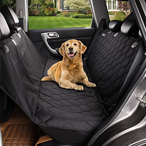 Acrabros Universal Fit Nonslip Waterproof Padded Quilted Convertible Hammock Dog Car Seat Covers with Extra Side Flaps, Black, 54'W x 58'L