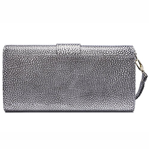 Shb6119yinse Womens Satchels Leather Party Clutch Handbags Envelope Long Purse With Wrist & Shoulder Strap Silver