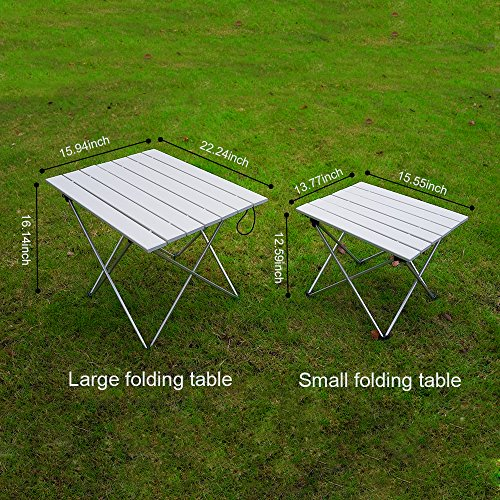 ASDOMO Portable Camping Tables With Aluminum Table Top, Hard Topped Folding  Table In A ...