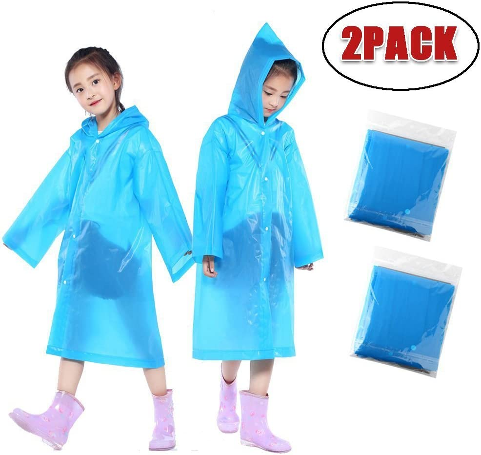 Blue Xshuai/® 2PCS Portable Reusable Raincoats Children Rain Ponchos Rain Coat Waterproof Hands Free Umbrella Hat Headwear Outdoor for 6-12 Years Old Kids Boys Girls