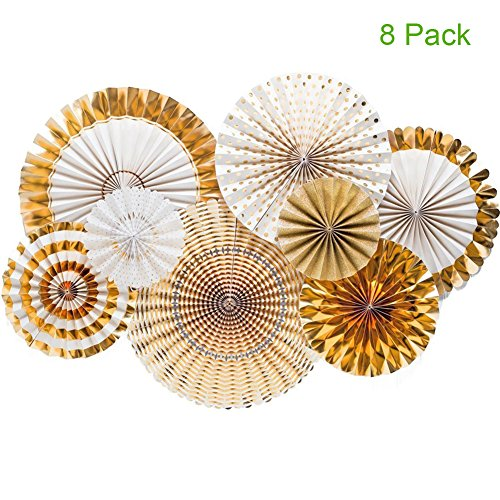 Party Paper Fans Gold Hanging Garland Glitter for Birthday Wedding Baby Shower Bridal Valentine's Day Girl's Decoration 8 Pack