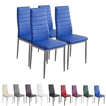 Albatros Milano - Set de 4 sillas de Comedor, Estructura metálica y Piel sintética, Estilo Italiano, Azul (2705)