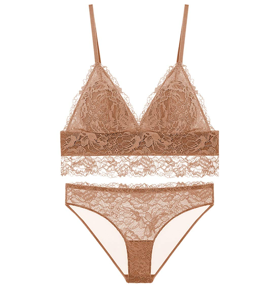 Light Brown 85A=36A=80A Brassiere Sets deep V Sexy French lace Embroidery Thin Bra, no Steel Ring, Adjust The Chest Type, Three Rows of Three Buckles