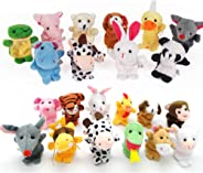 22 pcs Plush Animals Finger Puppet Toys - Mini Plush Figures Toy Assortment for Kids, Soft Hands Finger Puppets Game for Auti