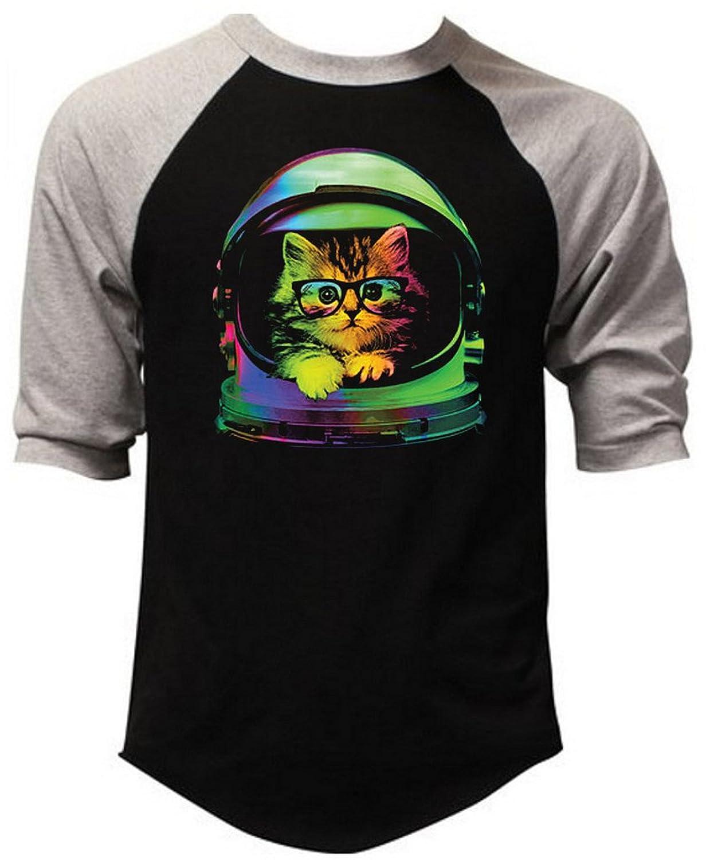 Neon Astronaut Space Kitten Men's Black/Gray Raglan Baseball T-Shirt Black/Gray