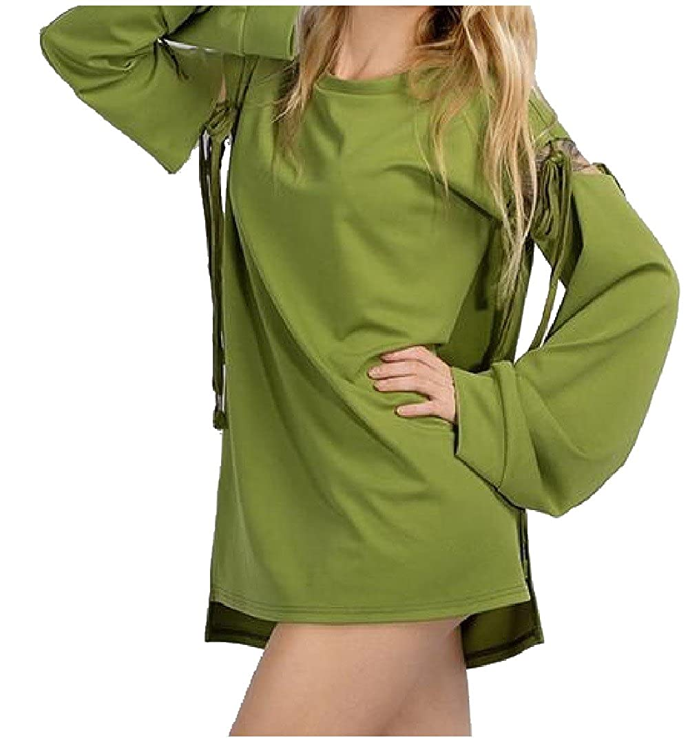 Honey GD Womens Solid Bandage Casual Conjoin Pullover Hoodies Top Tee