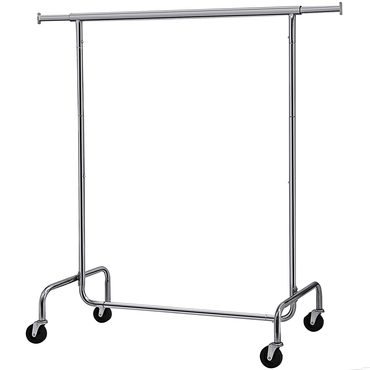 SONGMICS Heavy Duty Clothes Garment Rack Maximum Capacity 286.6lbs Clothing Rack on Wheels All Metal Chrome Extendable UHSR11S