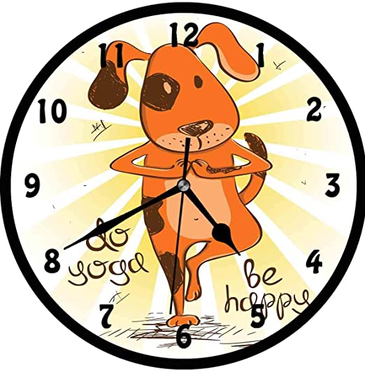 Amazon Com Bcwaygod Yoga Cartoon Dog Doing Tree Position Do Yoga Be Happy Life Message Cute Funny Wall Clock Nice For Gift Or Office Home Unique Decorative Clock Wall Decor 10in With Frame Orange