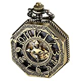 ALPS Pocket Watch Steampunk Skeleton Mechanical Automatic Hand Wind Pocket Watch