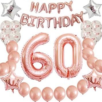 Rose Gold 60th Birthday Party Decorations Kit Confetti Latex Balloon Happy Balloons For