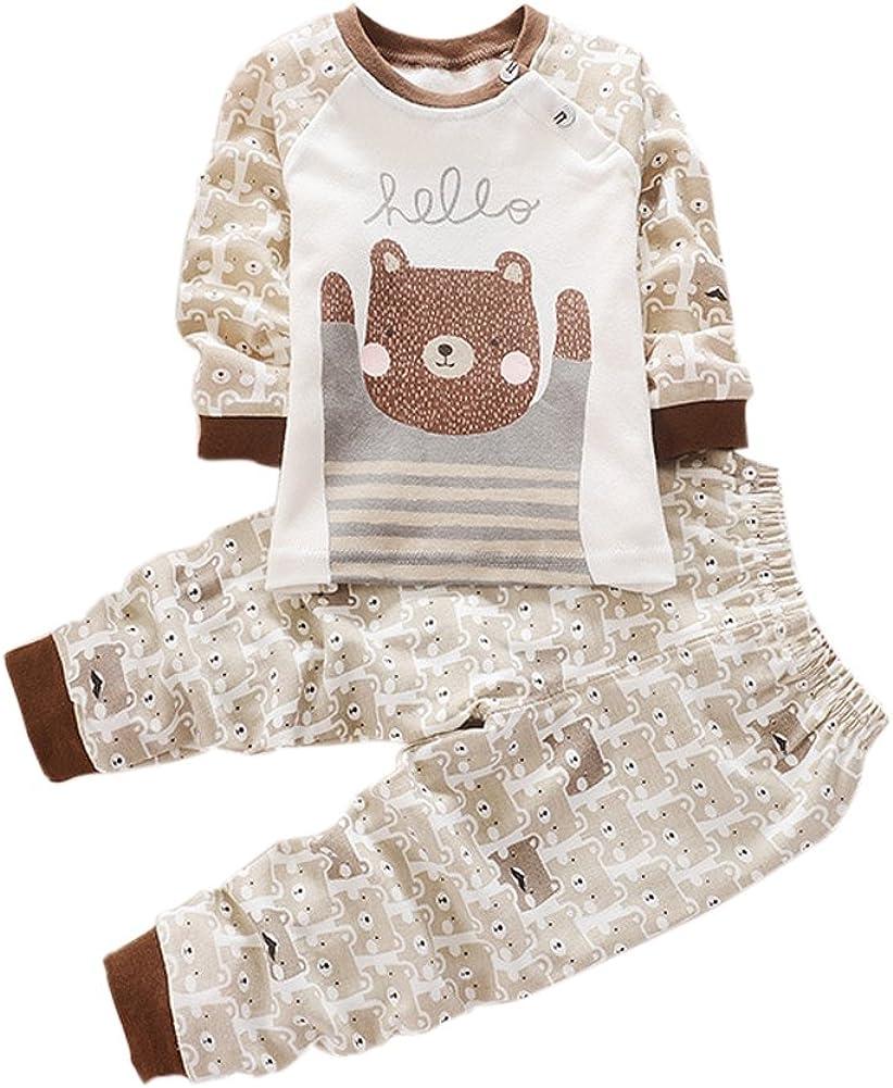 Zhengpin Kids Boy Girl Nightwear Sleepwear Cotton Pajamas Cartoon Outfit Set