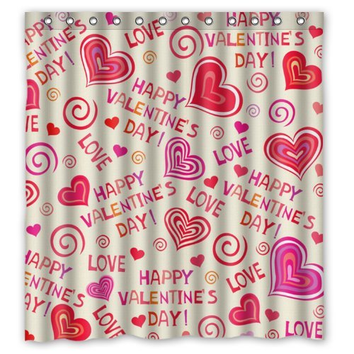 Best-Choice-Lovely-Hearts-HAPPY-VALENTINES-DAY-Shower-Curtain-66x72-Inches-100-Waterproof-Polyester-Fabric-Bathroom-CurtainShower-Rings-Included