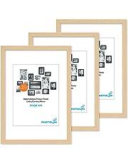 Lot de 3 Cadres Moderne en MDF avec vitre en Verre acrilique Comprenant Accessoires/Collage de Photos/galerie d'images/Multi Cadre Photo Mural