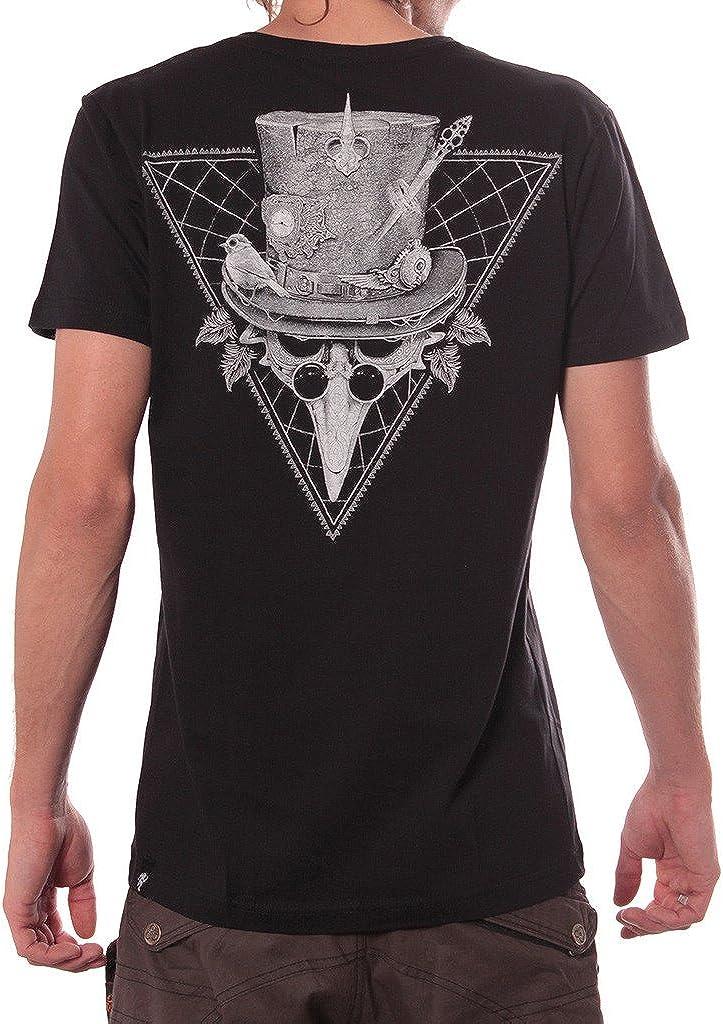 Street Habit Camiseta Negra 'Birdman Gang' algodón 100% - Ropa gótica con Calavera y Gafas Steampunk para Hombre