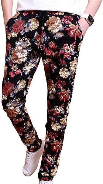 KLJR-Men Chinese Style Print Elastic Waist Cotton Linen Capri Pants