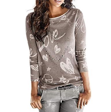 Chemise imprimé Love à Manches Longues pour Femmes Chemisier Casual Tee  Shirt en Coton LâChe Tops ea1b497f665