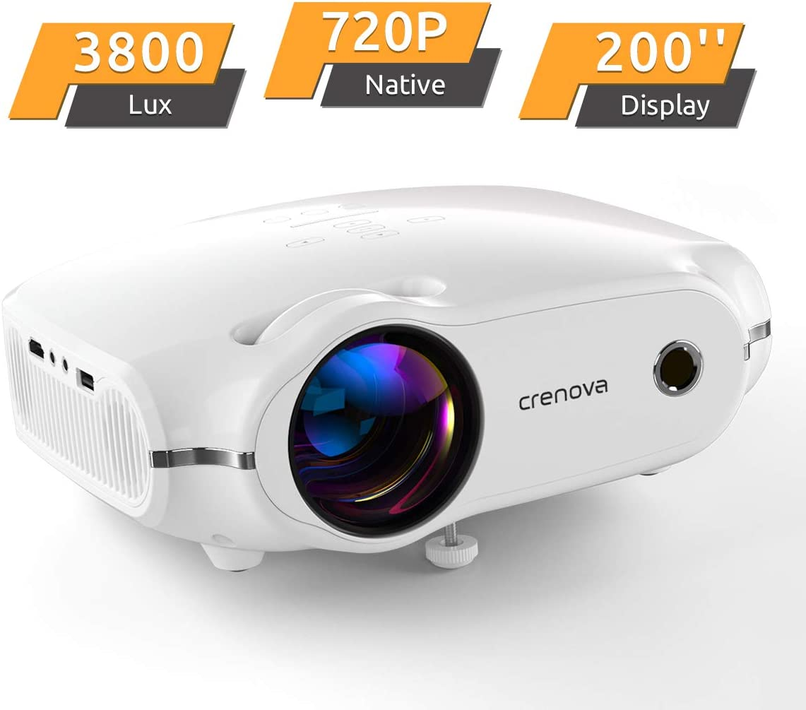 "Crenova Mini Projector, Native 720P LED Video Projector, Upgraded 3800 Lux Portable HD Home Theater Projector with 200"" Projection Size, Compatible with HDMI/VGA/AV/USB/TF SD Card"