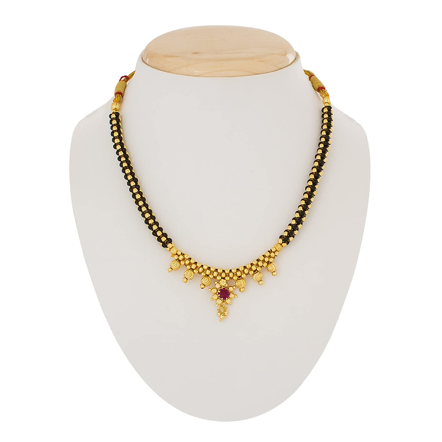 Buy The Luxor Gold Plated Alloy With Pearls Mangalsutra Necklace ...