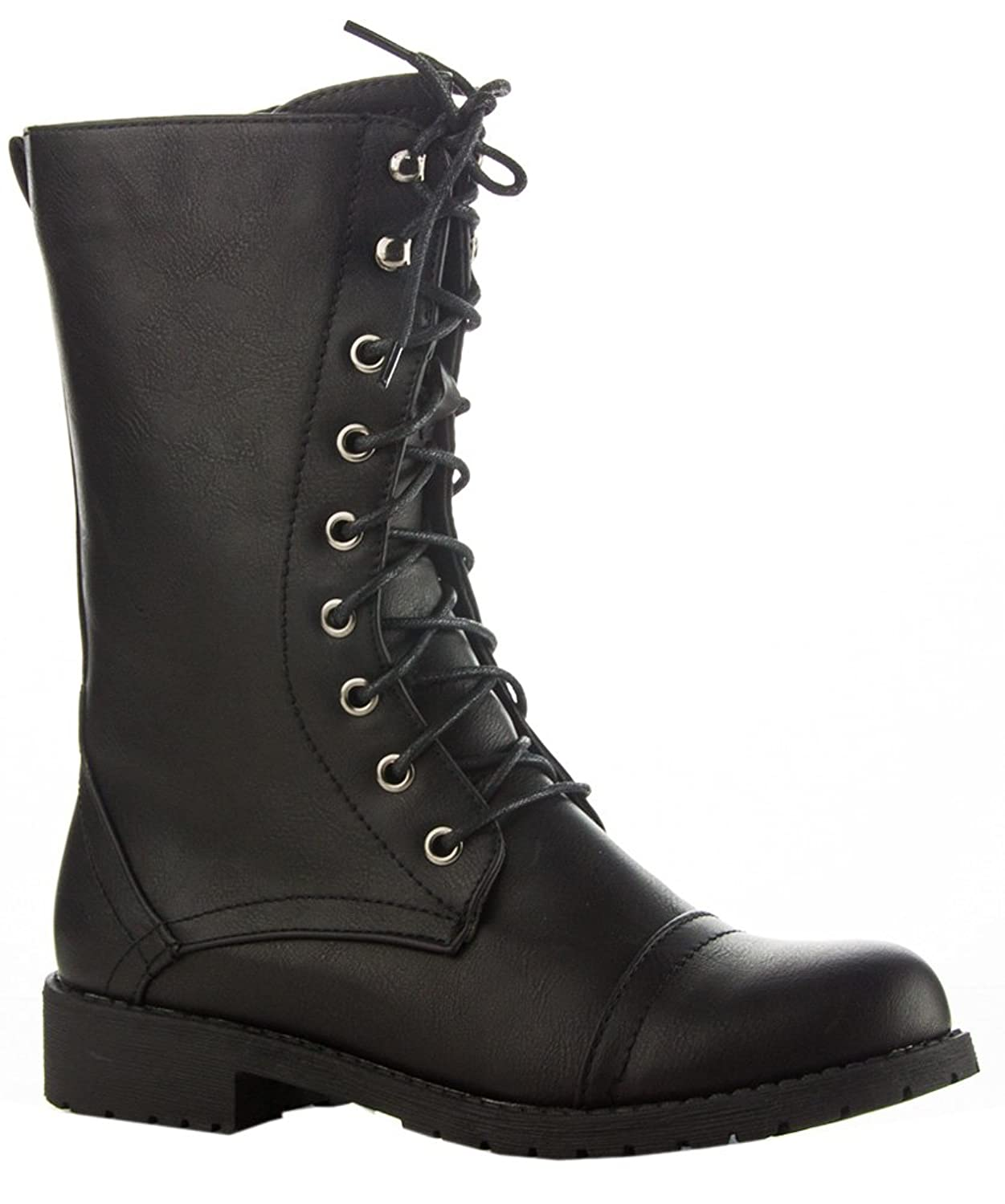 ROF Women's Lug Heel Ankle to Mid Calf Booties Zipper Closure Combat Military Motorcycle Boots