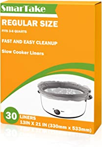 SMARTAKE Slow Cooker Liners, 13 × 21 Inches Disposable Cooking Bags, Easy Clean-Up Plastic Bags, Fit 3QT to 8QT, for Slow Cooker, Crockpot, Aluminum Cooking Trays, Pans, 1 Pack (30 Liners)