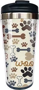 Hasdon-Hill Funny Travel Mugs For Women Men Cool Dog Bones Paw Prints Cream Coffee Mug, Stainless Steel Mug For Love Dog Birthday Friends Gifts 12 Oz