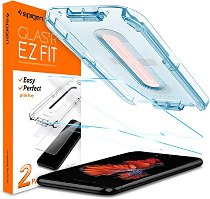 Anti-Scratch Anti-fingerprint 9H Tempered Glass Installation Kit Included Case Friendly Bubble-free iPhone 7//8 Screen Protector EZ FIT Spigen 054GL22382 2Pack Glas.tR Slim