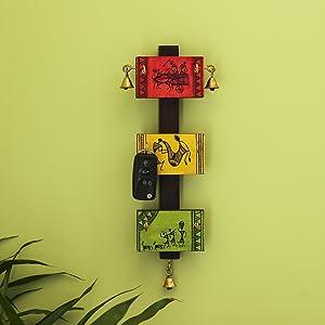 ExclusiveLane 'Panels of Paintings' Warli Hand-Painted Key Holder in Pine & Teak Wood (6 Hooks) - Key Hooks Decorative for Wall Keychain Key Rack Organiser Key Holder Decorative Wall Mount Stand