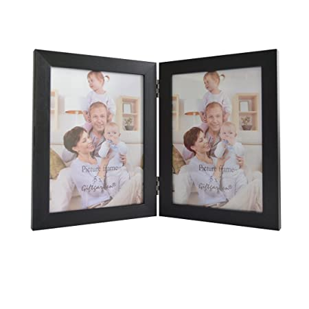 Giftgarden 7x5 Double Photo Frames Synthetic Wood Folding Frame PVC ...