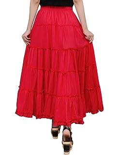 8ae05a84940 Tanming Women's Elastic Waist Stitching Lettuce Hem Ruffled Cotton Linen  Long Skirts