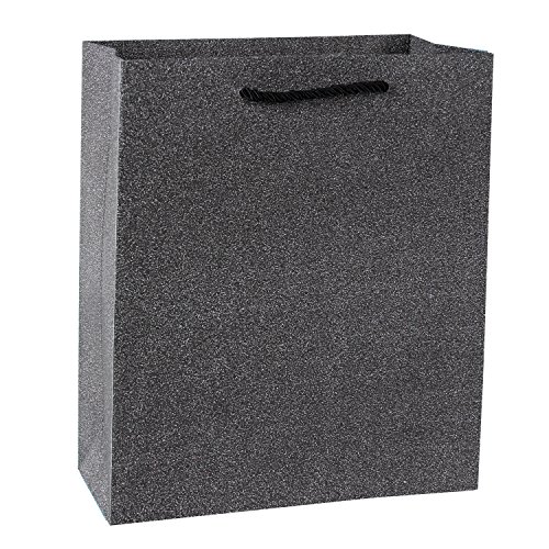 "LaRibbons Glitter Gift Bags Large Handle for Wedding (10 Pack), 10"" x 5"" x 13"", Black"