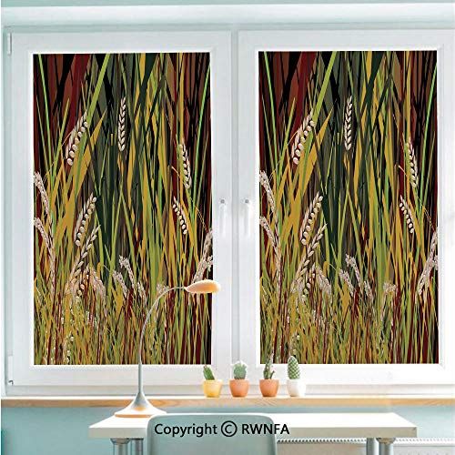 Window Film No Glue Glass Sticker Reeds Dried Leaves Wheat River Wild Plant Forest Farm Country Life Art Print Image Static Cling Privacy Decor for Kitchen Bathroom 22.8x35.4inches,Multicolor (Furniture Reeds Country)