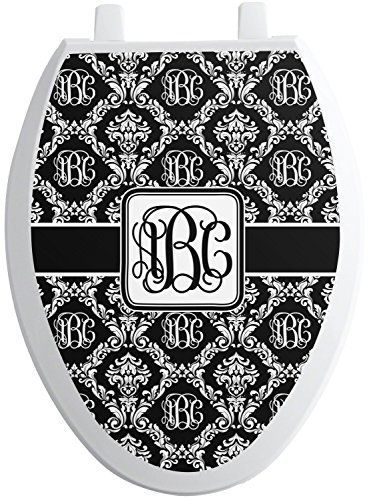 Elong Toilet Seat - RNK Shops Monogrammed Damask Toilet Seat Decal - Elongated (Personalized)