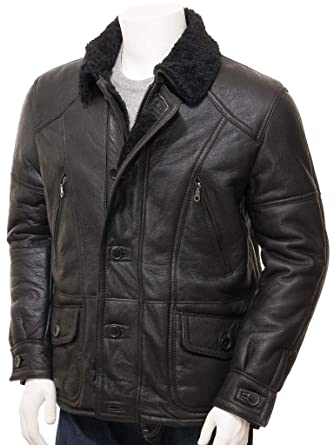 Blingsoul Leather Jackets For Men Distressed Brown Shearling