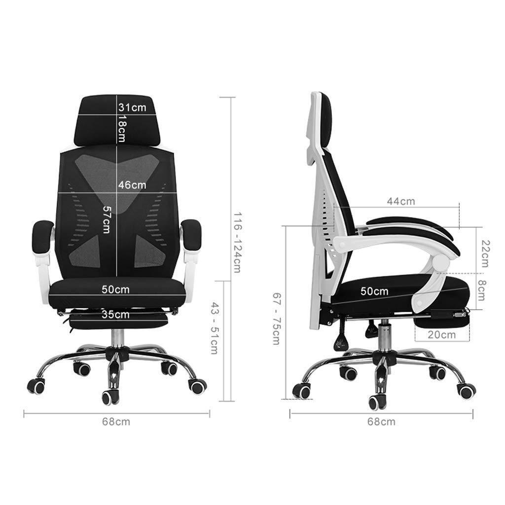Kontorsstol, hög rygg stort säte och ergonomisk svängbar stol liggande dator skrivbordsstol andningsbar mesh R11 Svart Svart