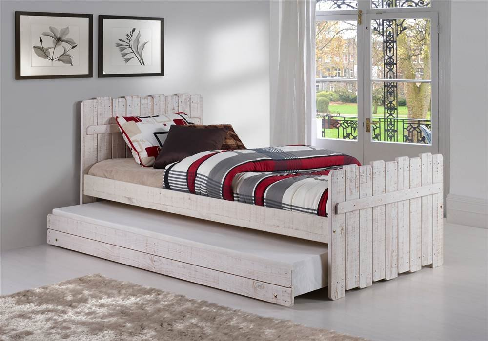 Tree House Twin Bed with Trundle in Rustic Sand Finish