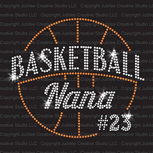 Basketball Nana Custom Number Iron On Rhinestone Crystal T-shirt Transfer by Jubilee Rhinestones (T-shirts Custom Bling)