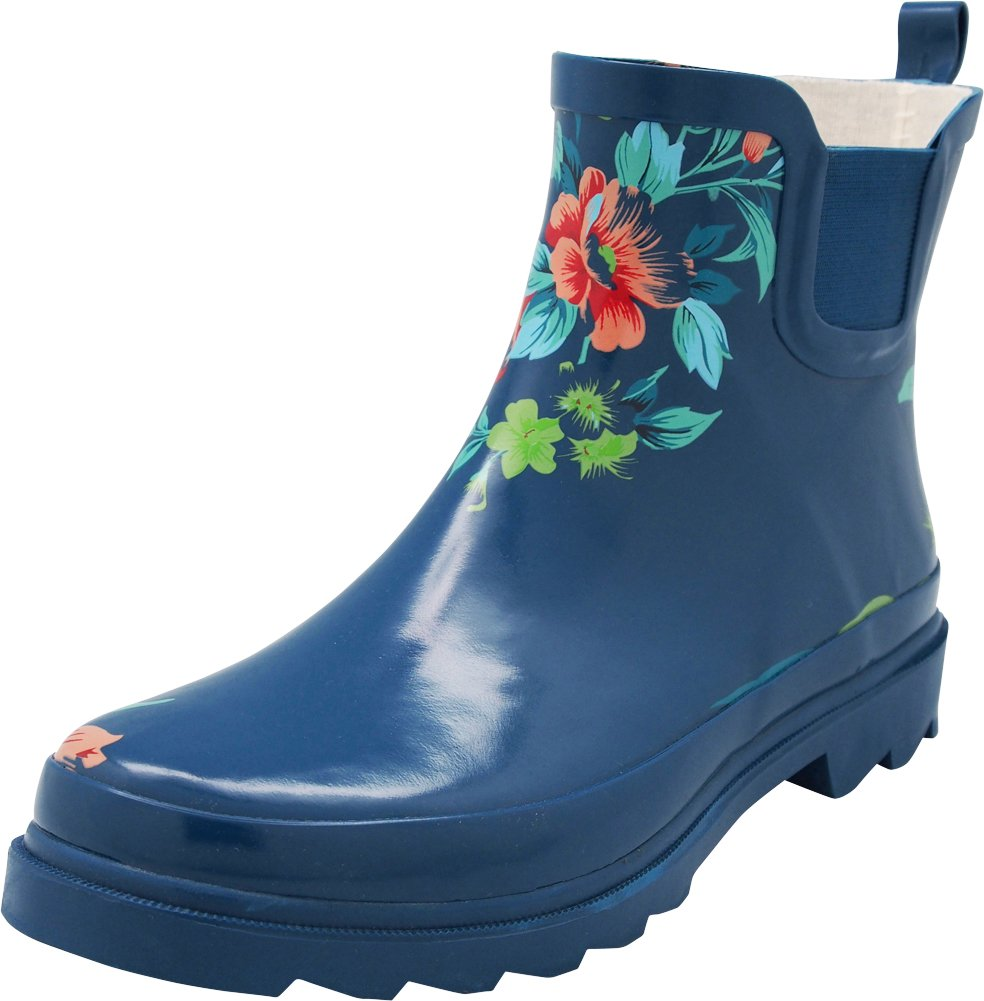 NORTY - Womens Ankle High Floral Rain Boot, Teal Blue 40679-11B(M) US