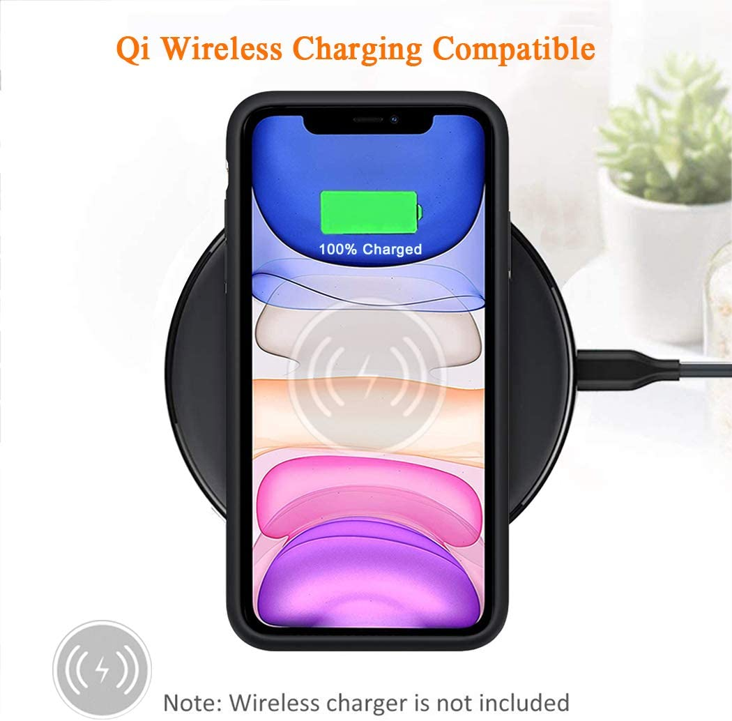 Rechargeable Extended Battery Charger Case Black 6000mAh Portable Protective Charging Case with Qi Wireless Charging for iPhone 11 Wireless Charging Battery Case for iPhone 11 6.1 inch