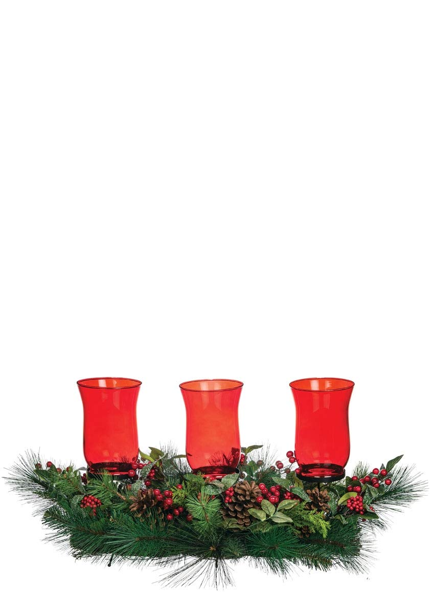 Sullivans Centerpiece with 3 Candle Holders, Red Hurricane Glass with Garland and Berries, 36''L x 16''W x 15''H, Green and Red (CP577)