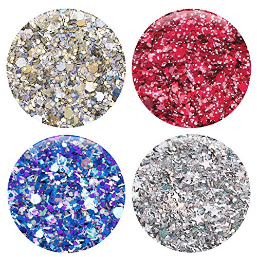 Mixed Glitter 20 Piece Kit – Includes Solvent Resistant Dust, Powder, Hexagon, Holographic, Matte Glitters - Great for Nail Art Polish, Gels, Art and Crafts, Paints & Acrylics Supplies - 1/4 OZ Jars by Glitties (Image #4)